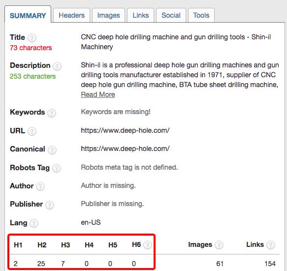 页面内容优化需要添加h标签