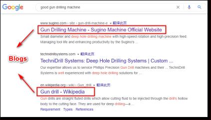 Google搜索加修饰词的的产品关键词会出现博客文章